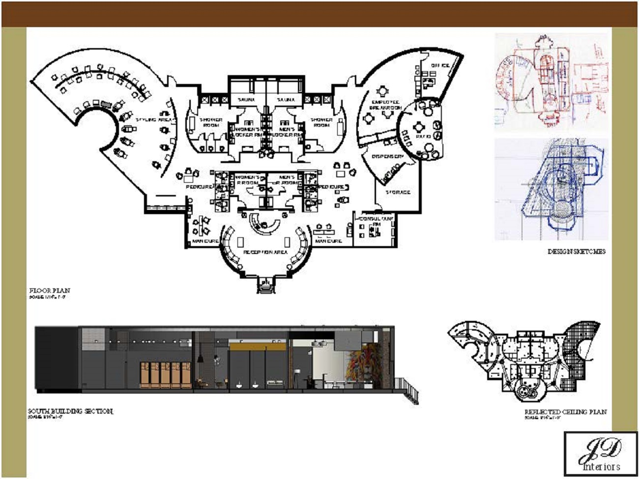 floor plans, section, and sketches