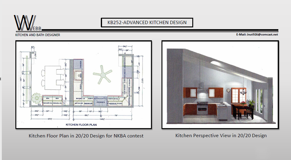 Kitchen floor plan and perspective view in 20/20