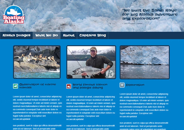 Boating Alaska page design