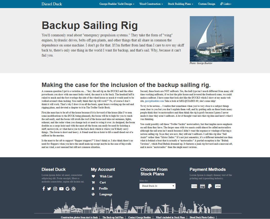 Sailing web page design