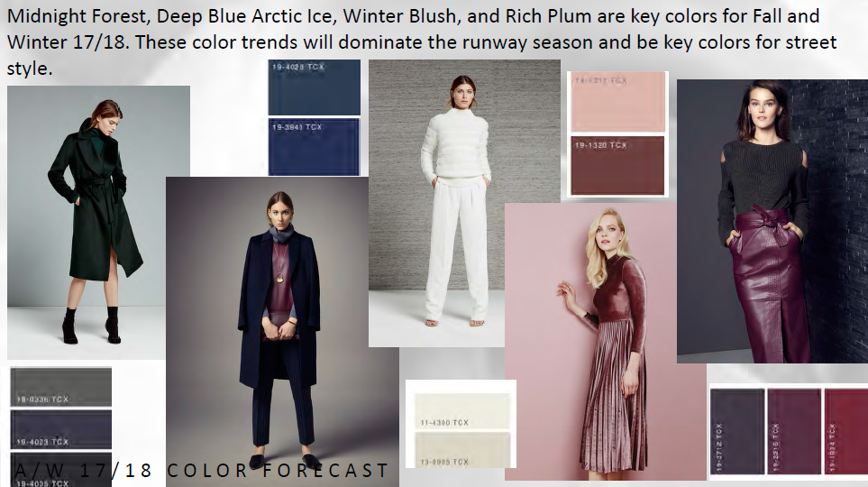 Key colors for Fall and Winter 17/18