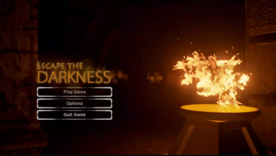 Escape the Darkness Video Game Main Menu